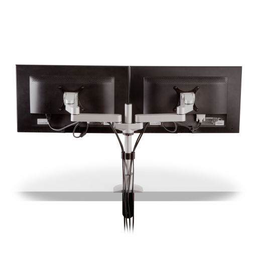 dual side by side monitor arm mounts for noc furniture 1 - Dual Side by Side Monitor Arm