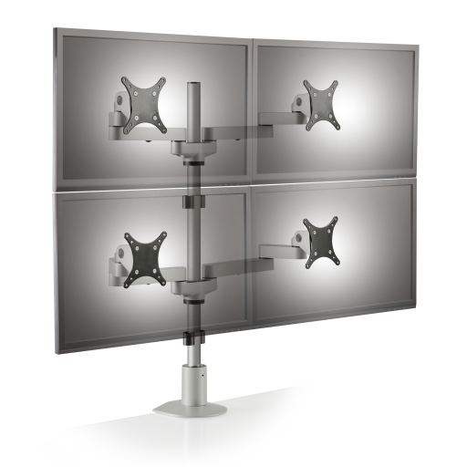 Quad Monitor Arms Mount for Console Furniture - Front