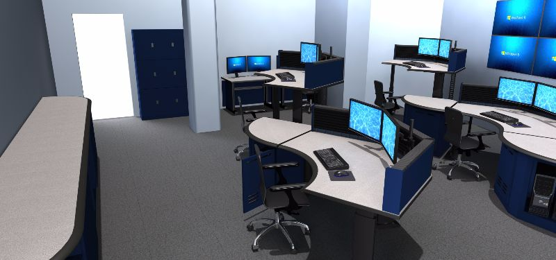 Command Tech Adjustable Consoles for 911 Dispatch Control Rooms