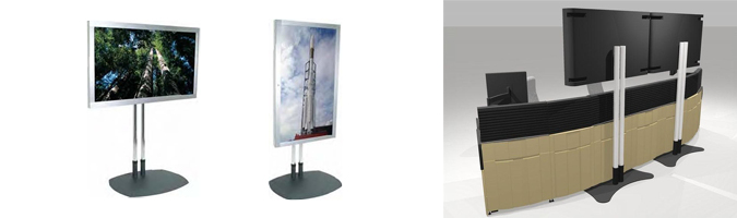 display mounts for control room furniture rendering