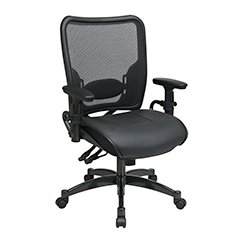 Dual Function Ergo Airgrid Leather Chair Front Thumb - Professional Dual Function Ergonomic Air Grid Chair With Leather Seat