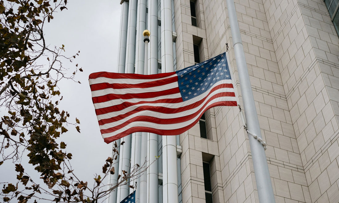 US flag outside government building