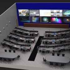 Control Room furniture multi-unit aerial view
