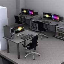 Computer console desks in NOC Center