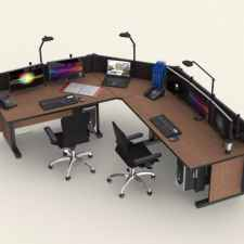 Computer console desk multi-user display