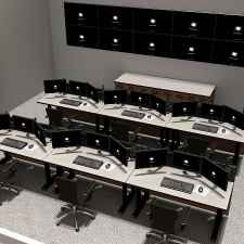 Console furniture for command and control room - multi-operator display